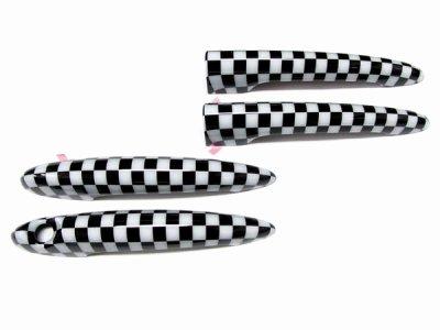 画像1: AutoStyle MINI ドアハンドルカバー for MINI R55 CLUBMAN チェッカー 4pcs